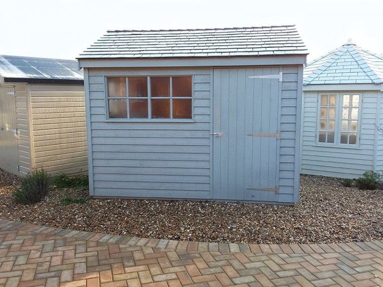 Cranleigh 2.4 x 3.0m Weatherboard Superior Shed in Farrow & Ball Pigeon
