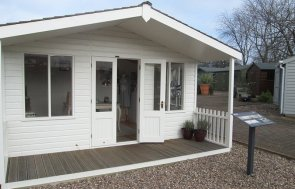 4_2 x 4_2m Nottingham Morston Summerhouse painted in Cream from our exterior paint system