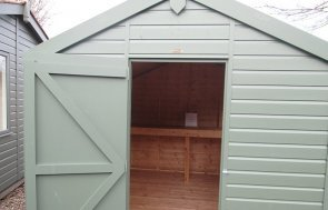 2.4 x 3.0m Apex Roof Classic Shed at Nottingham in Moss from our Classic Paint System