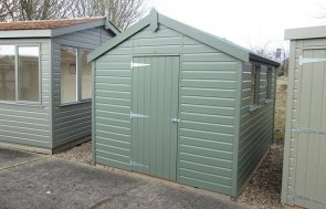 Nottingham 2.4 x 3.0m Apex Roof Classic Shed in Moss from our Classic Paint System