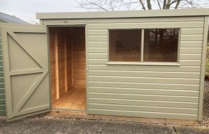 Nottingham 1.8 x 3.0m Pent Roof Classic Shed in Stone from our Classic Paint System