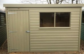 1.8 x 3.0m Pent Roof Classic Shed at Nottingham in Stone from our Classic Paint System