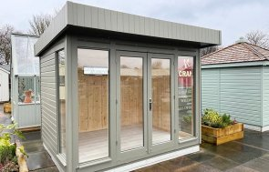 Nottingham 2.4 x 3.0m Salthouse Studio painted in Ash from our exterior paint system