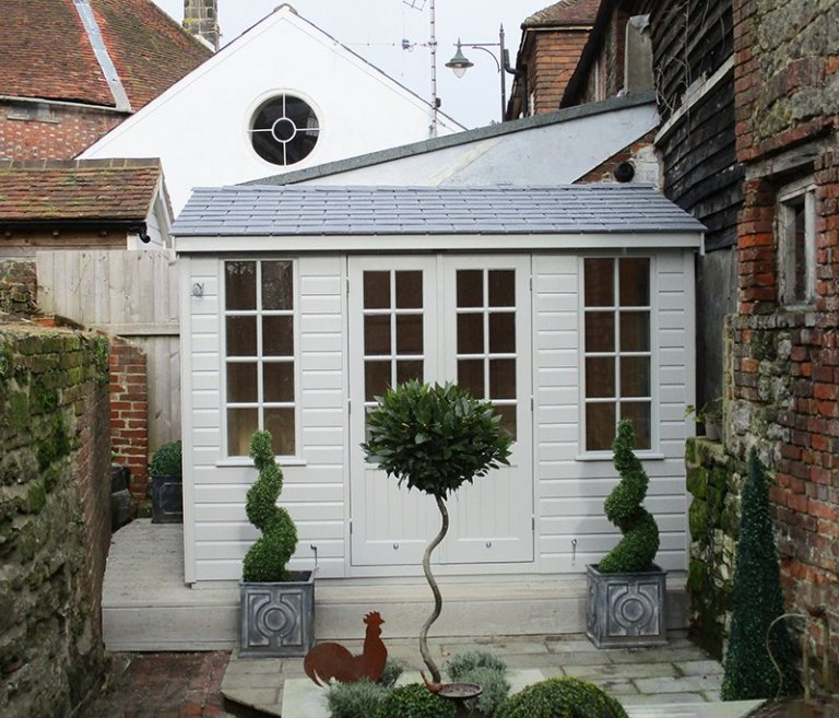 3.0 x 3.0m Shiplap Clad Holkham Summerhouse painted in Pebble from our exterior paint system