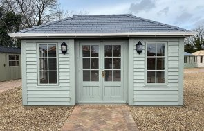 3.0 x 4.8m Garden Room in Farrow & Ball Pigeon at St Albans
