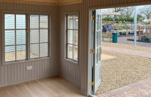 Interior of the 3.0 x 4.8m Garden Room in Farrow & Ball Pigeon at St Albans