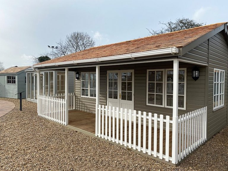 6.0 x 6.0m Pavilion Garden Room in Farrow & Ball Mouse's Back at St Albans