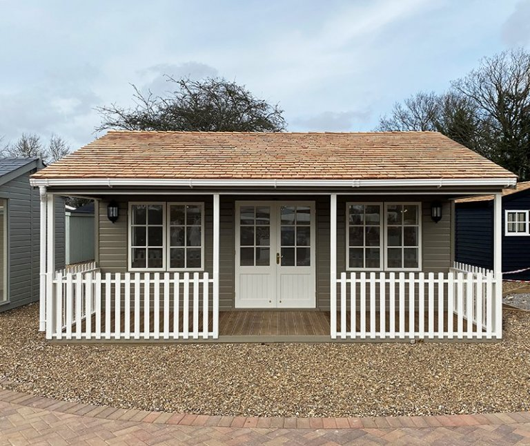 St Albans 6.0 x 6.0m Pavilion Garden Room in Farrow & Ball Mouse's Back