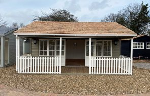 St Albans 6.0 x 6.0m Pavilion Garden Room with open double doors in Farrow & Ball Mouse's Back
