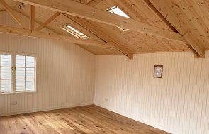 Interior of the St Albans 6.0 x 6.0m Pavilion Garden Room in Farrow & Ball Mouse's Back