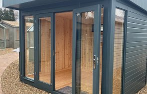 St Albans 2.4 x 3.0m Salthouse Studio with open double doors in Slate from our exterior paint system