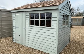 2.4 x 3.0m Weatherboard Superior Shed at St Albans in Farrow & Ball Pigeon