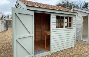 St Albans 2.4 x 3.0m Weatherboard Superior Shed with open door in Farrow & Ball Pigeon