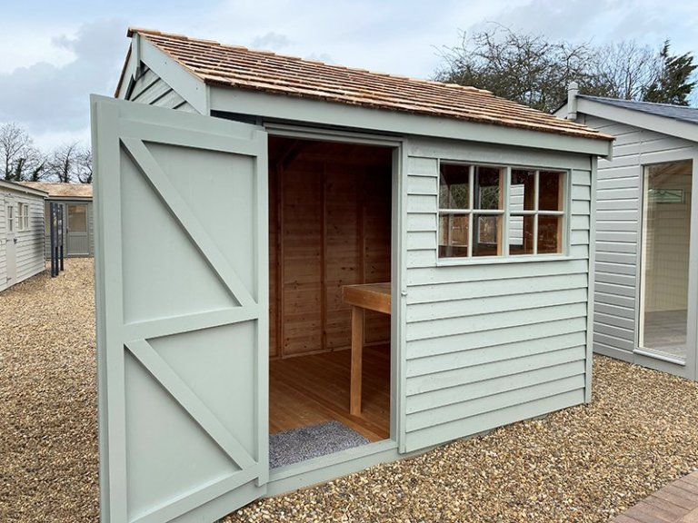 St Albans 2.4 x 3.0m Weatherboard Superior Shed with open door