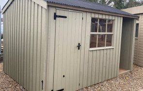 St Albans 2.4 x 3.6m Blickling National Trust Shed in Wades Lantern from the National Trust paint palette