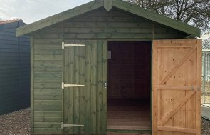 St Albans 3.0 x 3.6m Superior Shed in Sikkens Green with open door