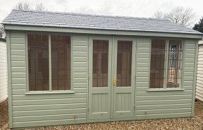 3.0 x 4.2m Holkham Summerhouse painted in Lizard at our St Albans show site