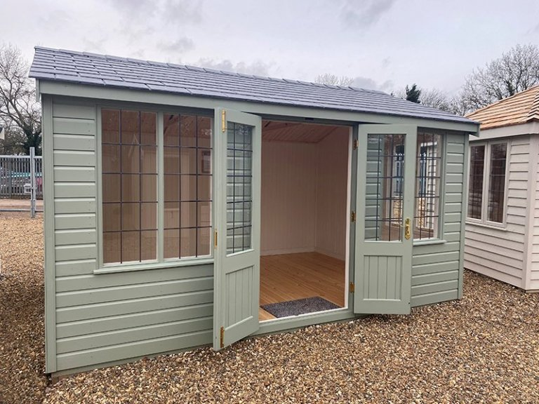 3.0 x 4.2m Holkham Summerhouse at our St Albans show site with open double doors