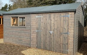 3.0 x 4.8m Superior Shed at our St Albans show site in Sikkens Grey