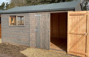 St Albans 3.0 x 4.8m Superior Shed in Sikkens Grey with open door