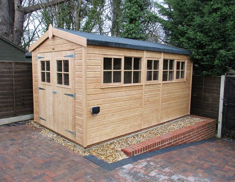 2.4 x 4.2m Superior Shed in Light Oak with full internal lining and insulation