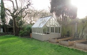 3.0 x 3.6m Farrow & Ball painted Timber Greenhouse in Mouse's Back