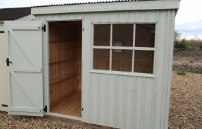 Brighton 1.8 x 2.4m National Trust Oxburgh Shed in Disraeli Green with open door