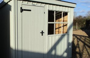 Close up of the 1.8 x 2.4m National Trust Oxburgh Shed in Disraeli Green at Brighton