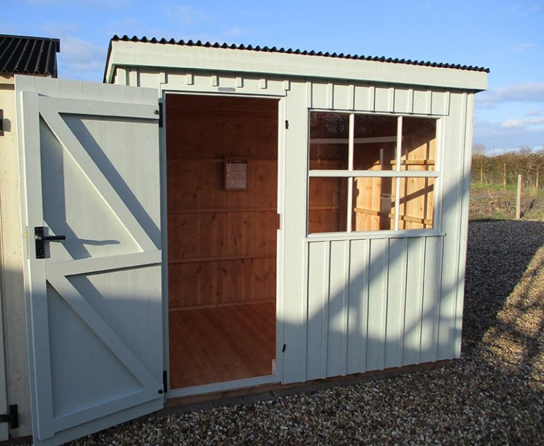 Close up of the 1.8 x 2.4m National Trust Oxburgh Shed at Brighton with open door