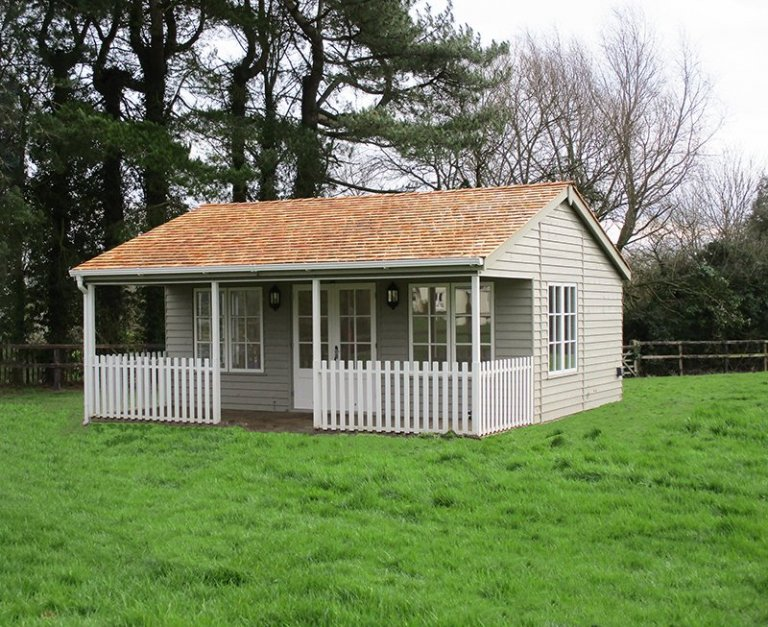 6.0 x 6.0m Farrow & Ball Painted Pavilion Garden Room in Light Gray & Pointing