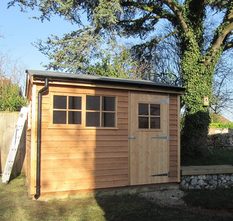2.4 x 3.0m Weatherboard Cladded Superior Shed in Light Oak