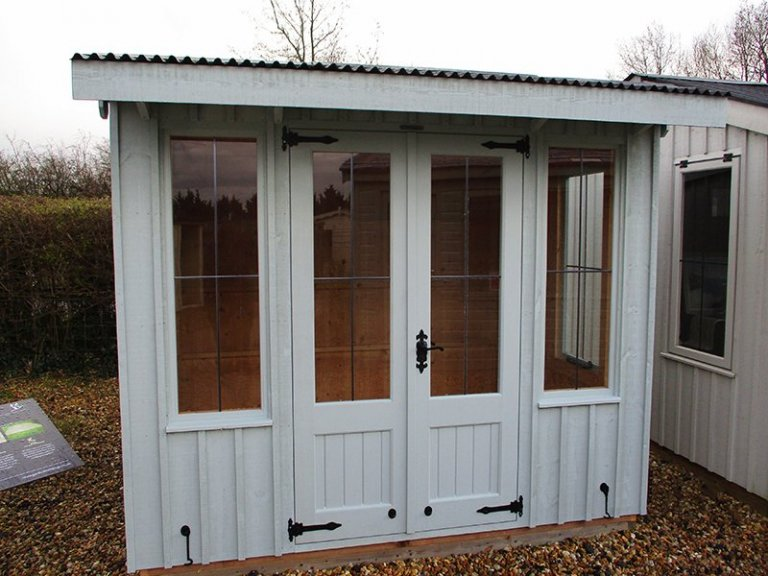 1.8 x 2.4m Flatford Summerhouse Brighton painted in Painters Grey