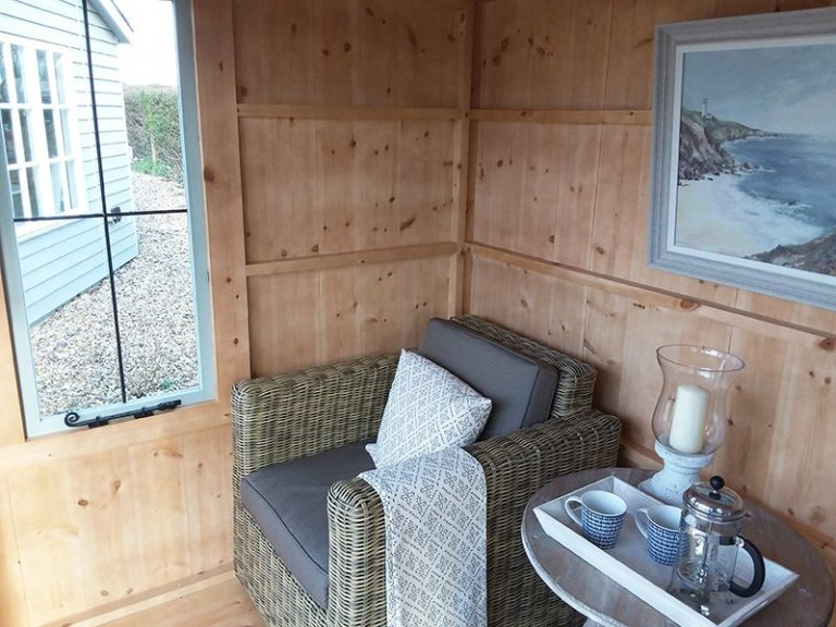 Interior of the Brighton 1.8 x 2.4m Flatford Summerhouse painted in Painters Grey