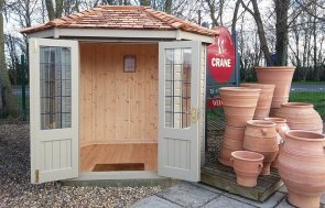 Brighton 1.8 x 2.5m Wiveton Summerhouse painted in Taupe with open double doors