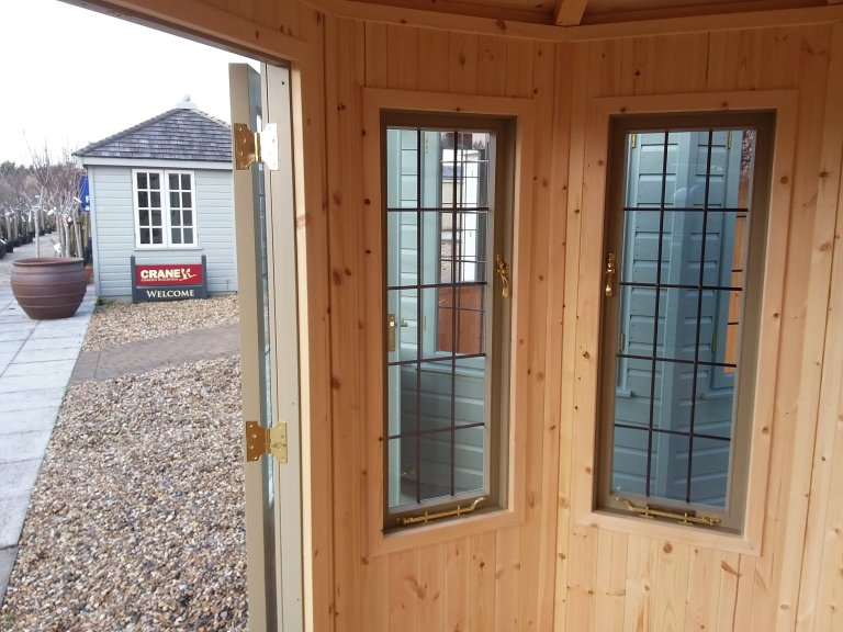 Leaded windows inside the Brighton 1.8 x 2.5m Wiveton Summerhouse