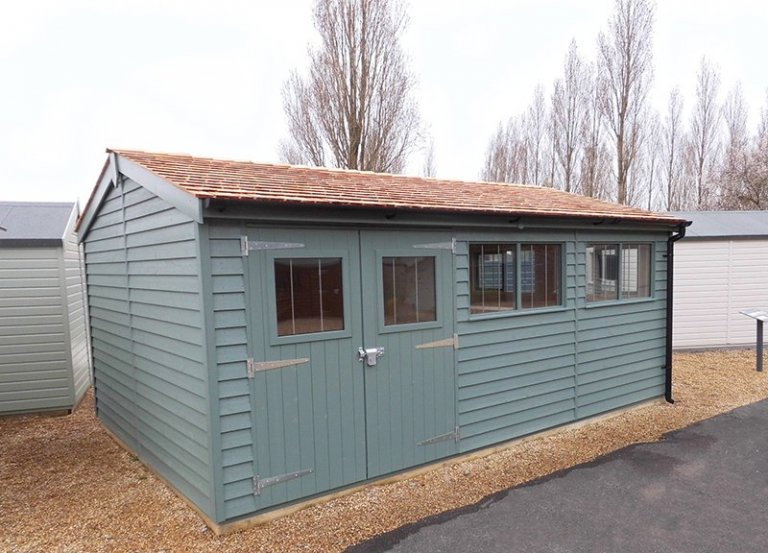 Burford 3.6 x 5.4m Weatherboard Superior Shed in Farrow & Ball Green Smoke