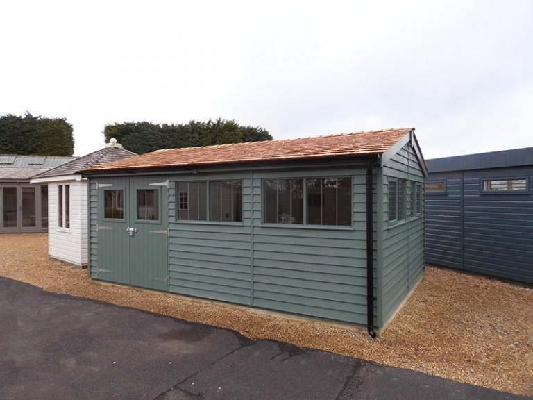 3.6 x 5.4m Weatherboard Superior Shed at Burford in Farrow & Ball Green Smoke