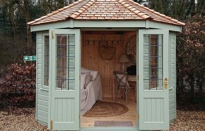 Newbury 3.0 x 3.0m Wiveton Summerhouse painted in Lizard from our exterior paint system