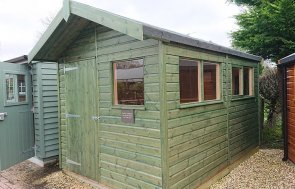 2.4 x 3.6m Superior Shed at Newbury in Sikkens Green
