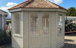 2.4 x 3.0m Wiveton Summerhouse at Nottingham painted in Farrow & Ball Light Gray
