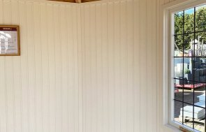 Inside the Nottingham 2.4 x 3.0m Wiveton Summerhouse painted in Farrow & Ball Light Gray