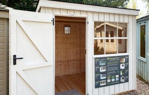 Trentham 1.8 x 2.4m National Trust Oxburgh Shed painted in Earls Grey from the National Trust Paint Palette