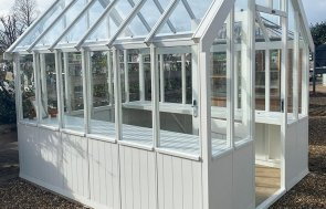St Albans 2.4 x 3.0m Greenhouse in Ivory from our exterior paint system