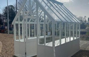 2.4 x 3.0m Greenhouse at St Albans in Ivory from our exterior paint system