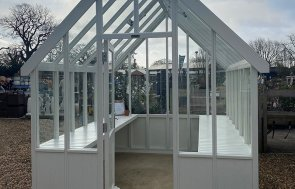 St Albans Ivory painted Greenhouse measuring 2.4 x 3.0m