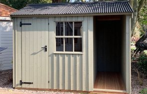 2.4 x 3.0m Blickling Shed at Trentham painted in Wades Lantern from the National Trust paint system