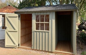 Trentham 2.4 x 3.0m Blickling Shed painted in Wades Lantern from the National Trust paint system