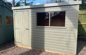 1.8 x 3.0m Pent Roof Classic Shed at Trentham painted in Stone