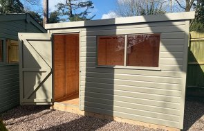 Trentham 1.8 x 3.0m Pent Roof Classic Shed painted in Stone