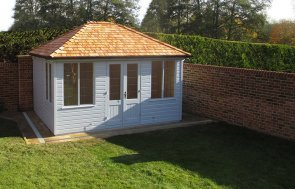 3.0 x 4.0m Cley Summerhouse in Sundrenched Blue from our Exterior Paint System